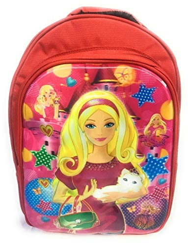 3D Effect 24 Litre Lightweight Polyester Barbie red Kids School Bag (Suitable Upto 3-10 Years)