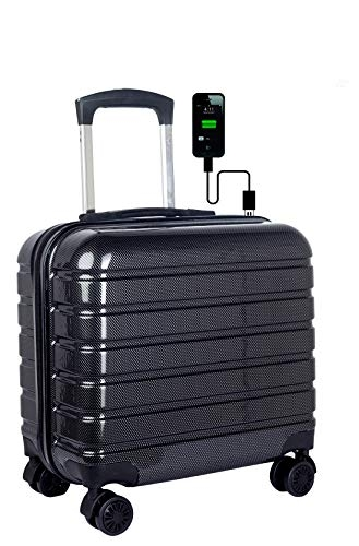 3G Atlantis Smart Series USB 17 inch Laptop Roller Case Cabin Size 4 Wheel Business Travel Trolley Suitcase Luggage (Black)