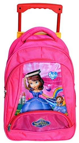 3G Collections Kid's Fabric 5D Embossed Frozen Princess School Trolley Bag for Age 4-12 Yrs (Pink)