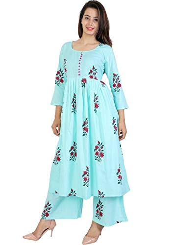 6TH Avenue Streetwear Vaastra Women's Cotton Kurti with Palazzo Pant (Color: Sky Blue, Size: XX-Large)