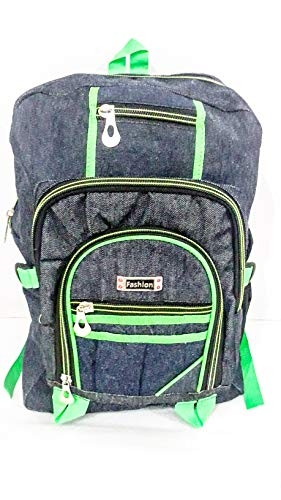 Abiha Denim Jeans Material Travel/School/Collage Bag (Navy Blue & Green) (17 x 12 x 6 inch)