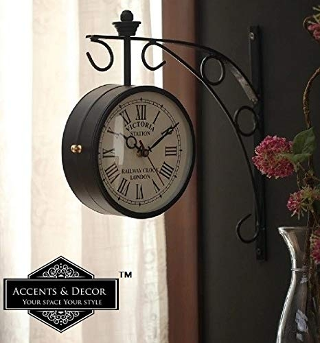Accents & Decor 8 inch Golden Brass Victoria Station Clock Antique Wall Clock for Home/Vintage Wall Clock