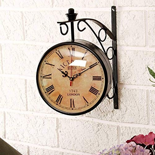 Accents & Decor 10 Inch Black Iron Victoria Station Clock London/Vintage Wall Clock/Retro Wall Clock/Double Side Wall Clock