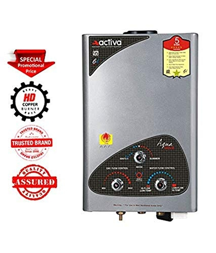 ACTIVA Instant Aqua Gold 100% Copper LPG Gas Water Heater with Anti Rust Coating Geyser ISI Approved Saves Your Geyser from Corrosion by Water (Silver Metallic)