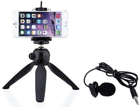 Adhbhud Combo of YT-228 7″ Mini Mobile Tripod with 360° Rotating Ball Head with Mobile Clip for All Smartphones with YouTube Mic – Best Tripod Online