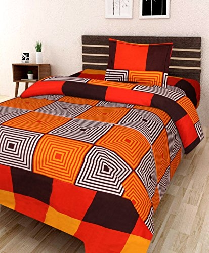 AEROHAVEN 180 TC Microfibre Double 3D Luxury Bedsheet with 1 Pillow Covers, Orange Color (Single Bed (60 x 90 Inch)
