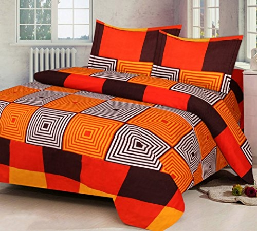 AEROHAVEN 180 TC Microfibre Double 3D Luxury Bedsheet with 2 Pillow Covers, Orange Color (Double Bed (90 x 90 Inch))