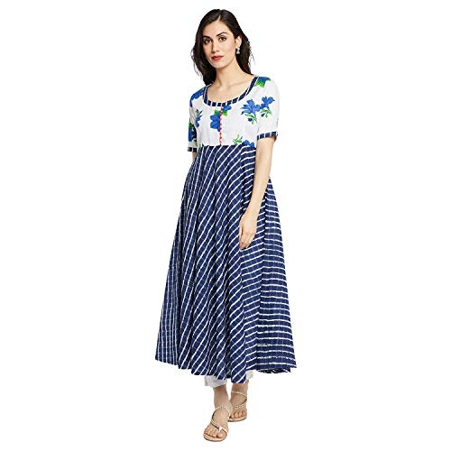 AgrohA Women's White & Blue Floral Print Cotton Anarkali Kurti Half Sleeves, Latest Summer Kurta for Girls, Woman