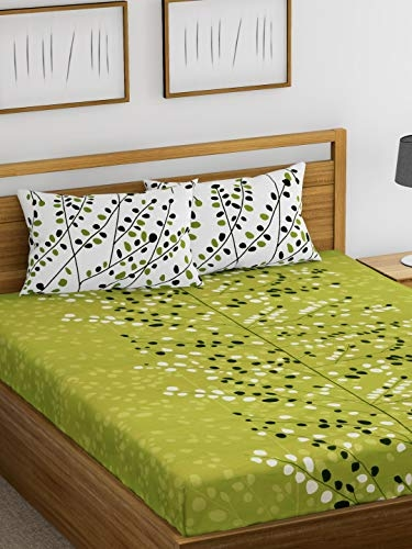 Ahmedabad Cotton Superior 160 TC Cotton Double Bedsheet with 2 Pillow Covers – Floral, Green