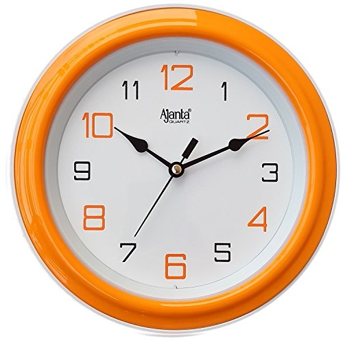 Ajanta 8 Inches Wall Clock for Home/Offces / Bedroom/Living Room/Kitchen (Step Movement, Orange)