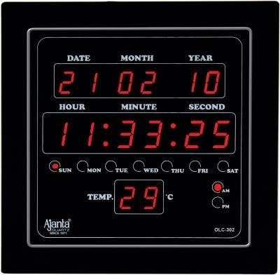 Ajanta Digital Wall Clock Green LED,Black Body,with Glass (25.4 cm x 25.4 cm x 3 cm, Black)