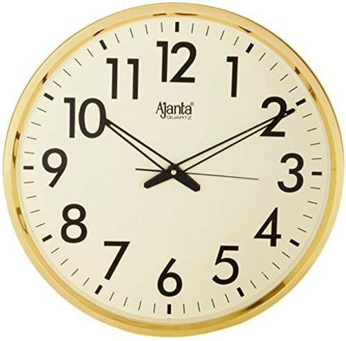Ajanta Quartz Wall Clock (32 cm x 32 cm x 2 cm, Ivory Dial and Golden Rim)
