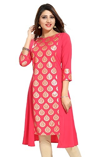 ALC Creation Women's A-Line Kurta (ALC4007N_Peach_medium)