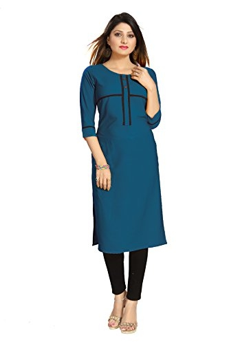 ALC Creation Women's Straight Kurta (ALC2079TEAL-M_Teal_Medium)