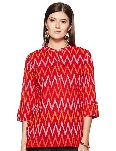 Amazon Brand- Myx Women's Straight Kurta (SS18NDIKKAT2B_Red_medium)