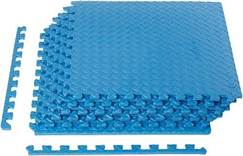 AmazonBasics Puzzle Exercise Mat with EVA Foam Interlocking Tiles – Blue