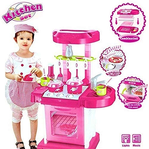 Manya Impex Little Chef 2 in 1 Kitchen Play Set, Pretend Play Luggage Kitchen Kit for Kids with Suitcase Trolley, Multi Color with Lights & Sound