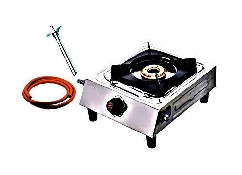 Articonic Vishal laxmi Stainless Steel Burner Gas Stove with Single Cooktop, Bakelite Knobs, Brass Valve and Manual Ignition with Gas Lighter and Hose Pipe (by. BK)