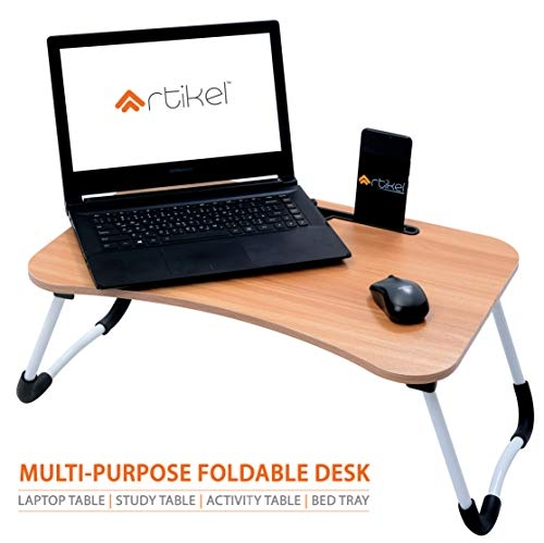 Artikel™ Multi-Purpose Laptop Table with Dock Stand | Foldable and Portable | Ergonomic & Rounded Edges | Non-Slip Legs | Engineered Wood (Hard Maple Wood)