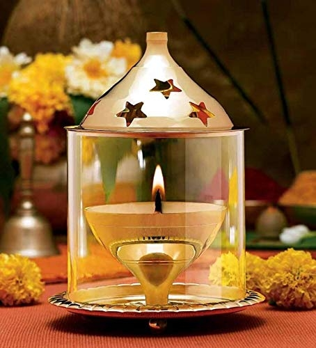 Brass Gift Center Deep Jyoti with Crystal Beads Chimney Brass Table Diya (Height: 4.5 inch)