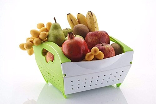 Ash&Roh Foldable Plastic Basket Drainer for Vegetable and Fruit