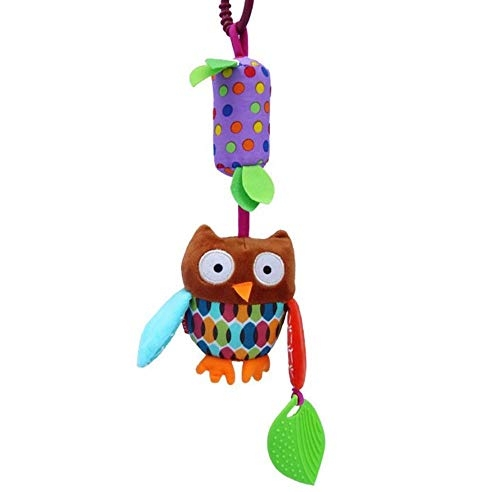 Baby Grow Baby Rattles & Pendant with Teether Baby Toys Animals Dolls Stroller Crib Hanging Wind Chimes Baby Activity Toys Perfect Gift for Baby 0+ (Brown Owl)