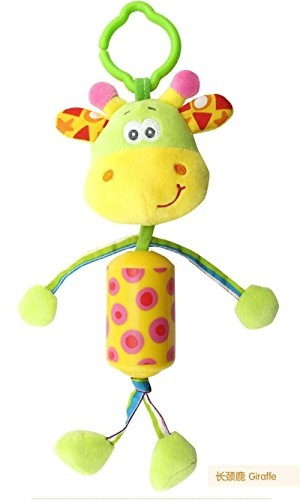 Baby Grow Cute Animals Lathe Rattles Hang Baby Kids Dolls Educational Toys Mobile Stroller Toys 0-12 Months (Giraffe)