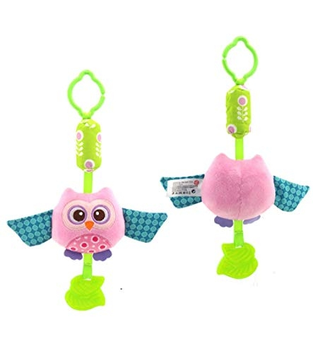 Baby Grow New Born Baby Stroller Toys Bell Bed & Baby Stroller Hanging Soft Rattle (Pink Owl)