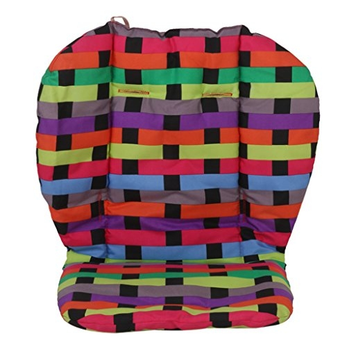 Baby Stroller Cushion Pushchair Colourful Grid Seat Pad