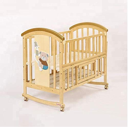 BabyTeddy 9 in 1 Convertible Bruno-The Dog Baby Crib Wooden Cot Bed Swing Desk with 6 Piece Bedding Set and Mosquito Net