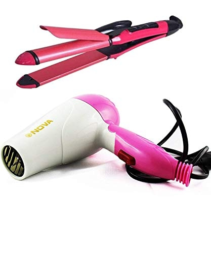 Prifix C (DEVICE) Professional 2-In-1 Hair Straightener & Curler NH-2009 and 1000W Foldable Hairdryer Multicolor (Combo of 2)