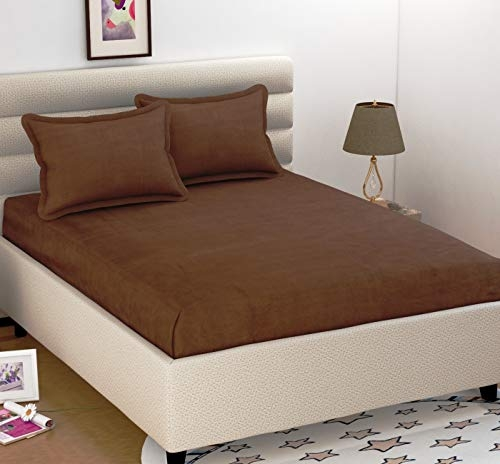 BEVI – Home Super Solid Coffee 160 Tc Microfiber Double Bed Sheet with 2 Pillow Cover – (Brown Plain)