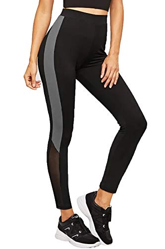 BLINKIN Mesh Yoga Gym Zumba Workout and Active Sports Fitness Black & Grey Polyester Leggings Tights with Mesh for Women|Girls(1869)