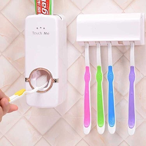 b&m Plastic Automatic Toothpaste Dispenser with Tooth Brush Holder for Homes and Bathrooms (Multicolour, 16×10.5×7.6cm)