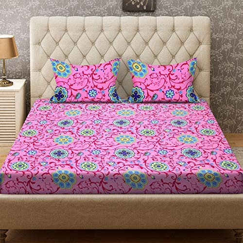 Bombay Dyeing Double Bedsheet with 2 Pillow Cover – Pink