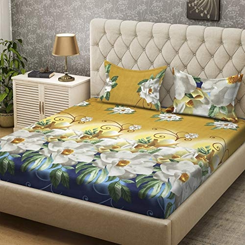 Bombay Dyeing Gorgeous Collection Polyester Double BedSheet (218 cm X 218 cm or 7.15 x 7.15 Foot) with Two Pillow Cover (5244 BLK)