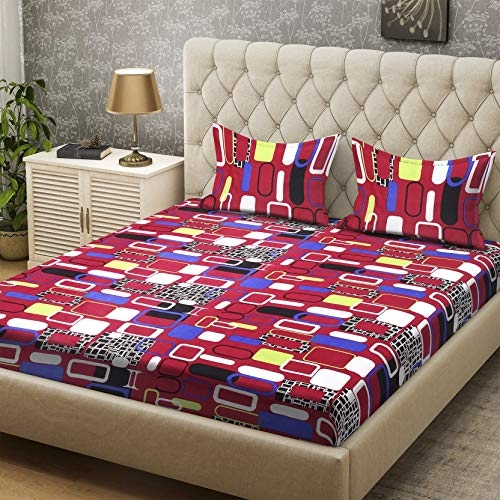 Bombay Dyeing Gorgeous Collection Polyester Double BedSheet (218 cm X 218 cm or 7.15 x 7.15 Foot) with Two Pillow Cover (5297 RUS)