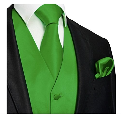 Brand Q Men's Dress Vest NeckTie Pocket Square Set for Suit or Tuxedo (SM, Green)