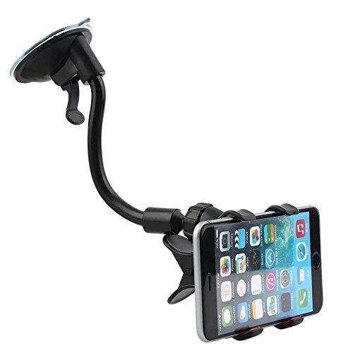 car mobile holder 360 degree double clamp – BROLAVIYA ® Iceberg Makers Universal Short Arm 360 Degree Rotatable Windshield Car Mobile Holder Double Clip Clamp for Smartphone's