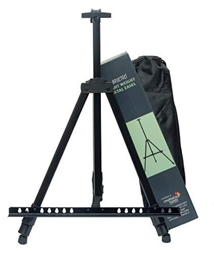 Brustro Artists Portable Lightweight Metal Display Easel with Free Weatherproof Carry Bag, Holds Canvas Upto 32″ – Best Tripod Online