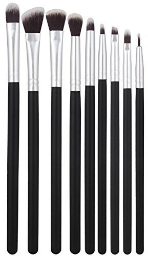 BS-MALL 9pc Premium Synthetic Cosmetics Eye Shadow Eyeliner Makeup Brushes Set (Silver Black)