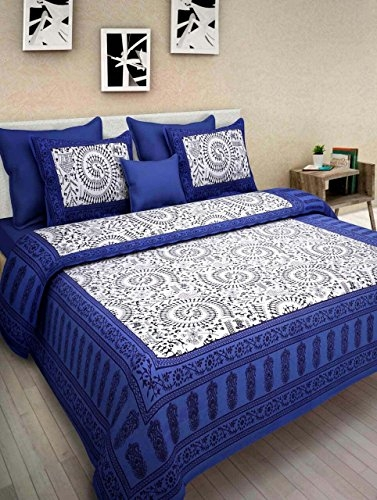 Ahmedabad Cotton 144 TC Cotton Bedsheet with 2 Pillow Covers – King Size, Yellow and Grey