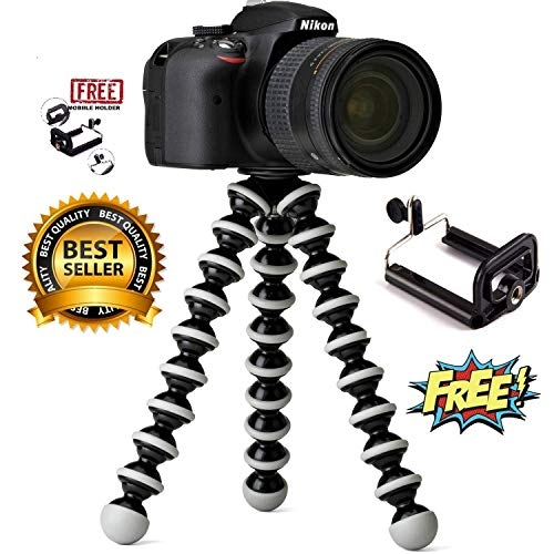 CamArmour Flexible Octopus Foldable Tripod for Camera, DSLR and Smartphones with Universal Mobile Attachment(White & Black) – Best Tripod Online