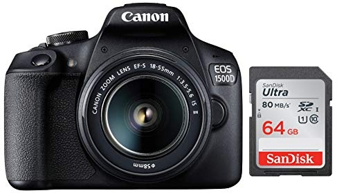 Canon EOS 1500D 24.1 Digital SLR Camera (Black) with EF S18-55 is II Lens, 16GB Card and Carry Case & Sandisk 64 GB Memory Card