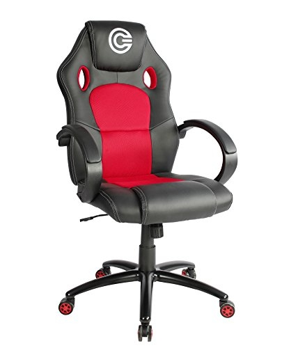 CIRCLE Gaming CH60 All Moulded Foam with 2D ARM Rest PVC Cover Material Having Adjustable Backrest Angle (Red and Black)
