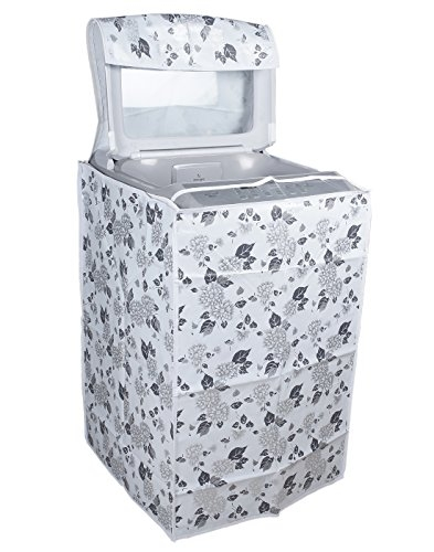 Classic® LG Top Load Washing Machine Cover Suitable For 6 kg, 6.2 Kg, 6.5 Kg, 7 Kg (56cms X 56cms X 85cms) Half White & Grey