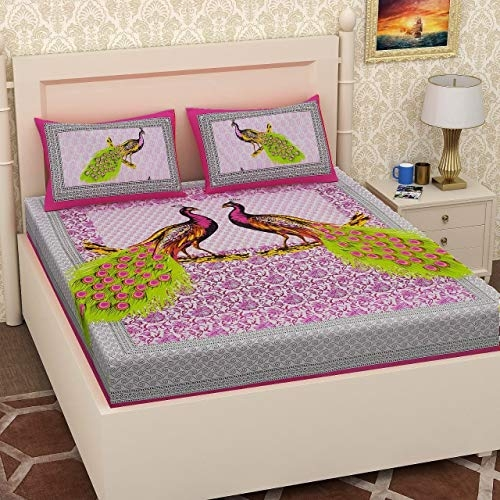 Collection Printed Cotton Pigmant Double Bed Sheet with 2 Pillow Covers (89 Inch x 89 Inch) (Chotta Bheem)