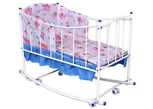 Comfort Store Sturdy Baby Cradle, Crib, Cot, Rocker, Play Pan, Multiple Functions with Zipper Mosquito Net/Newborn Bedding Sets(Blue)