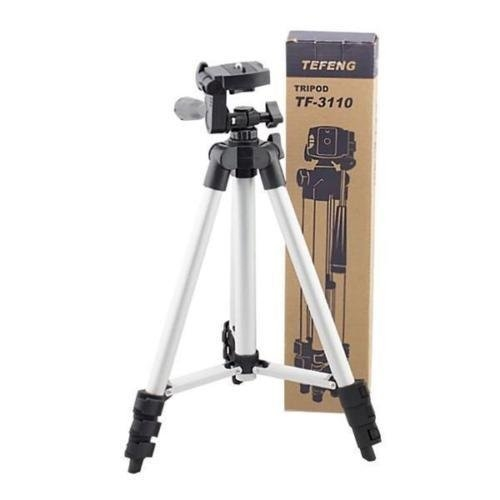 CP BIGBASKET – 3110 Portable and Foldable Camera – Tripod with Mobile Clip Holder Bracket, Stand with 3-Dimensional Head 150 gm (Black) – Best Tripod Online