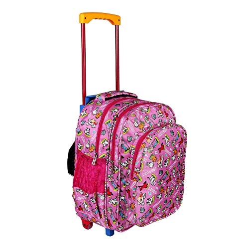 Bags Bazar Cartoon Printed Children's Rolling Luggage Trolley Wheels Soft-Sided Polyester Backpack for School Kids, Girls and Boys (Medium_18x13x7inch) (Pink)